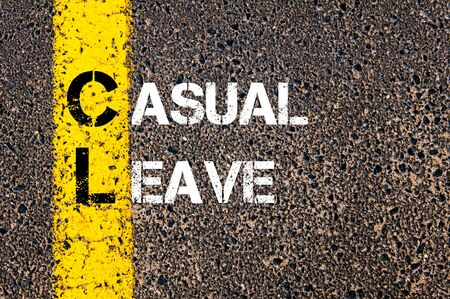 yellow line: Concept image of Business Acronym CL as Casual Leave written over road marking yellow paint line.