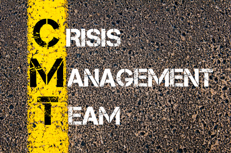 Concept image of Business Acronym CMT as Crisis Management Team  written over road marking yellow paint line.