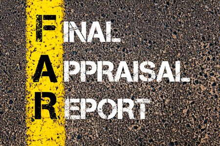 Concept image of Business Acronym FAR as Final Appraisal Report written over road marking yellow paint line. Stock Photo