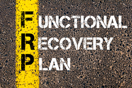 functional: Concept image of Business Acronym FRP as Functional Recovery Plan written over road marking yellow paint line.