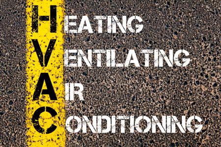 Concept beeld van bedrijf Acroniem HVAC als verwarming, ventilatie en airconditioning overschreven wegmarkering gele verf lijn.