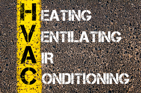 on air sign: Concept image of Business Acronym HVAC as Heating Ventilating Air Conditioning written over road marking yellow paint line.