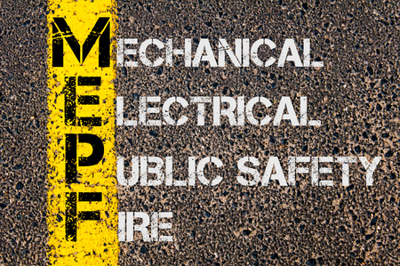 public safety: Concept image of Business Acronym MEPF as Mechanical Electrical Public Safety Fire written over road marking yellow paint line.