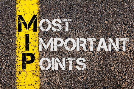 most: Concept image of Business Acronym MIP as Most Important Points written over road marking yellow paint line.