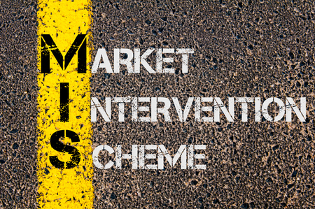 intervention: Concept image of Business Acronym MIS as Market Intervention Scheme  written over road marking yellow paint line.
