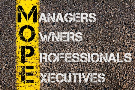 mope: Concept image of Business Acronym MOPE as Managers Owners Professional Executives written over road marking yellow paint line.