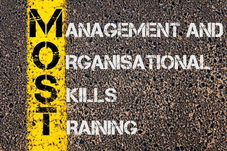 organisational: Concept image of Business Acronym MOST as Management and Organisational Skills Training  written over road marking yellow paint line.