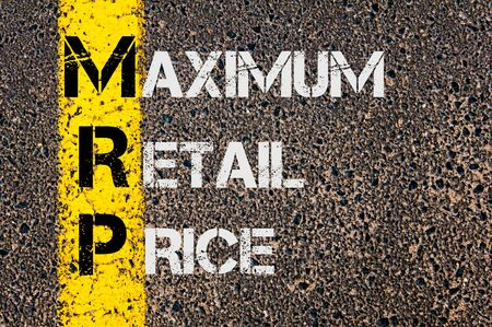 Concept image of Business Acronym MRP as Maximum Retail Price written over road marking yellow painted line. Stock Photo