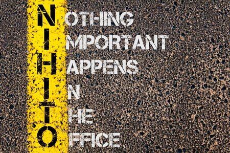 happens: Concept image of Business Acronym NIHITO as Nothing Important Happens In The Office written over road marking yellow painted line.