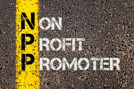 Concept image of Business Acronym NPP as Non Profit Promoter  written over road marking yellow painted line.