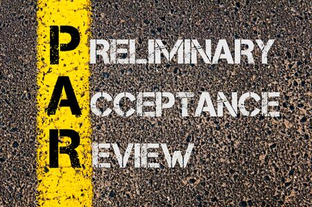 preliminary: Concept image of Business Acronym PAR as Preliminary Acceptance Review written over road marking yellow painted line. Stock Photo