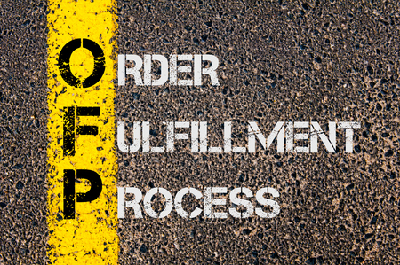 fulfillment: Concept image of Business Acronym OFP as Order Fulfillment Process written over road marking yellow painted line.