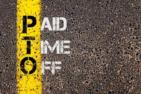 time off: Concept image of Business Acronym PTO as Paid Time Off written over road marking yellow painted line. Stock Photo