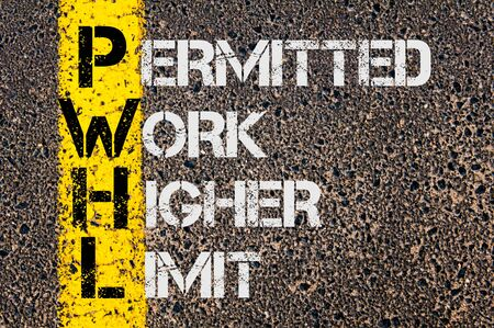 permitted: Concept image of Business Acronym PWHL as Permitted Work Higher Limit written over road marking yellow painted line.
