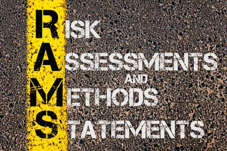 assessments: Concept image of Business Acronym RAMS as Risk Assessments and Methods Statements written over road marking yellow painted line.