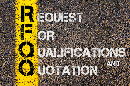 qualifications: Concept image of Business Acronym RFQO as Request For Qualifications and Quotation written over road marking yellow painted line.