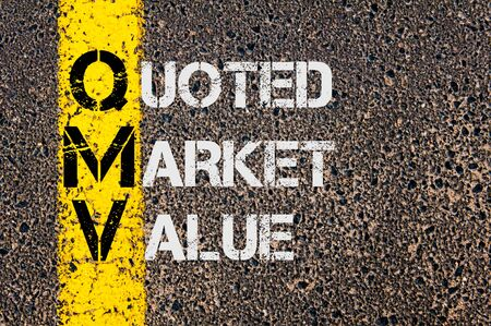 quoted: Concept image of Business Acronym QMV as Quoted Market Value written over road marking yellow painted line. Stock Photo