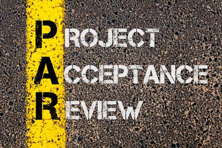par: Concept image of Business Acronym PAR as Project Acceptance Review written over road marking yellow painted line.