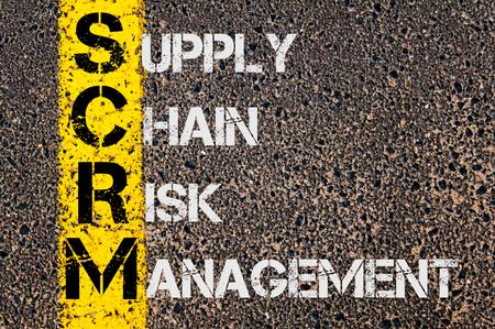 道路標示黄色塗装ライン上に書かれたサプライ チェーン リスク管理としてビジネスの頭字語 SCRM の概念イメージ。