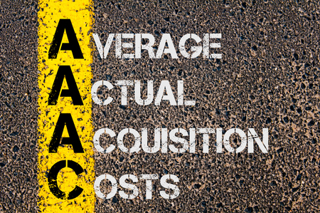 actual: Concept image of Business Acronym AAAC as Average Actual Acquisition Costs  written over road marking yellow paint line.