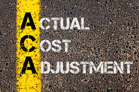 actual: Concept image of Business Acronym ACA as Actual Cost Adjustment written over road marking yellow paint line. Stock Photo