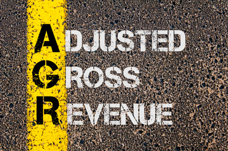 adjusted: Concept image of Business Acronym AGR as Adjusted Gross Revenue  written over road marking yellow paint line.