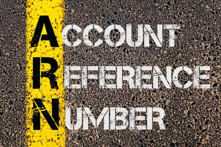reference: Concept image of Business Acronym ARN as Account Reference Number  written over road marking yellow paint line.