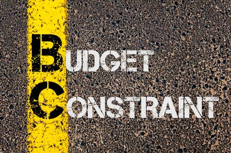 constraint: Concept image of Business Acronym BC as Budget Constraint  written over road marking yellow paint line.