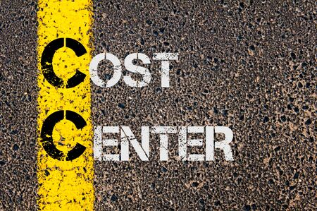 cc: Concept image of Business Acronym CC as Cost Center  written over road marking yellow paint line.