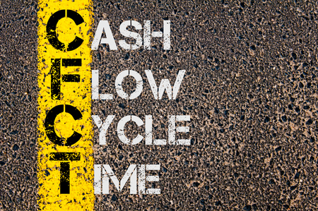 cash cycle: Concept image of Business Acronym CFCT as Cash Flow Cycle Time  written over road marking yellow paint line.