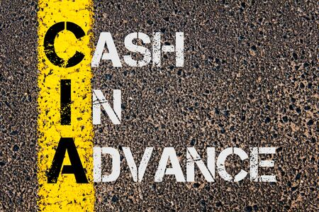 CIA: Concept image of Business Acronym CIA as Cash In Advance  written over road marking yellow paint line.