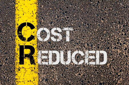 reduced: Concept image of Business Acronym CR as Cost Reduced  written over road marking yellow paint line.