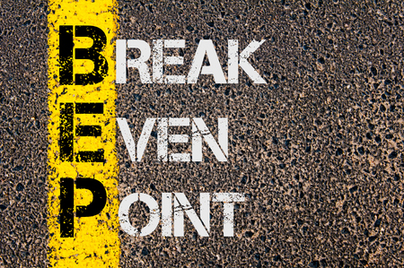 even: Concept image of Business Acronym BEP as Break Even Point  written over road marking yellow paint line. Stock Photo
