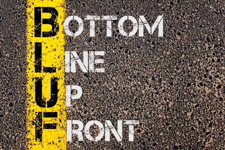 marking up: Concept image of Business Acronym BLUF as Bottom Line Up Front  written over road marking yellow paint line.