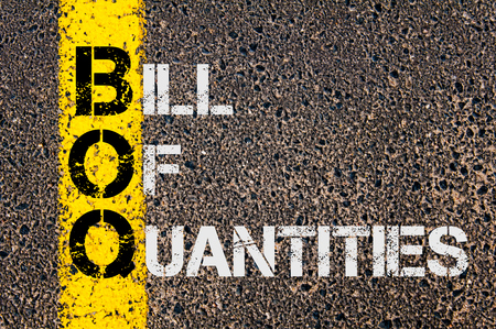 quantities: Concept image of Business Acronym BoQ as Bill Of Quantities written over road marking yellow paint line.