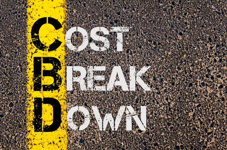 break down: Concept image of Business Acronym  CBD as Cost Break Down  written over road marking yellow paint line. Stock Photo