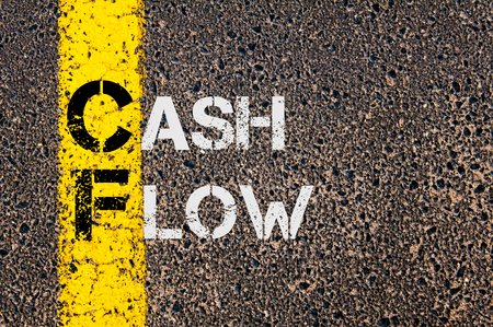 cf: Concept image of Business Acronym CF as Cash Flow  written over road marking yellow paint line.