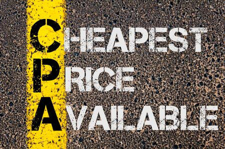 cpa: Concept image of Business Acronym CPA as Cheapest Price Available  written over road marking yellow paint line. Stock Photo