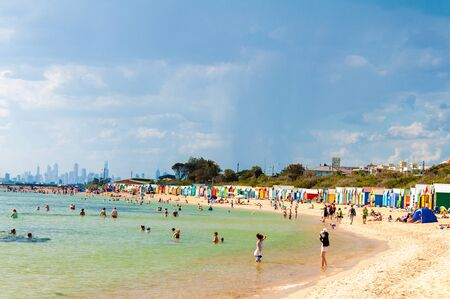Melbourne, Australia - February 21, 2015: Brighton bathing boxes,  with classic Victorian architectural features, are a popular Bayside icon and cultural asset at Brighton Beach, Melbourne, Australia Editorial