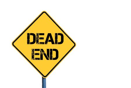 dead end: Yellow roadsign with Dead End message isolated on white background