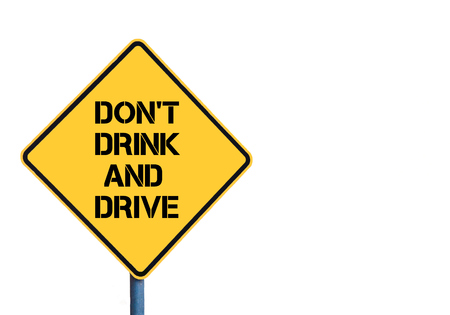dont drink and drive: Yellow roadsign with Dont Drink and Drive message isolated on white background