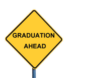 signage outdoor: Yellow roadsign with GRADUATION AHEAD message isolated on white background Stock Photo