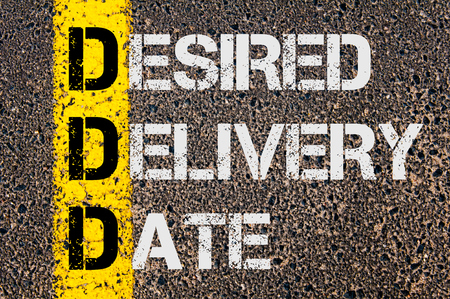 desired: Concept image of Business Acronym DDD as DESIRED DELIVERY DATE written over road marking yellow paint line.