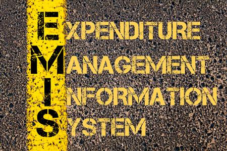 expenditure: Concept image of Business Acronym EMIS as Expenditure Management Information System written over road marking yellow paint line.