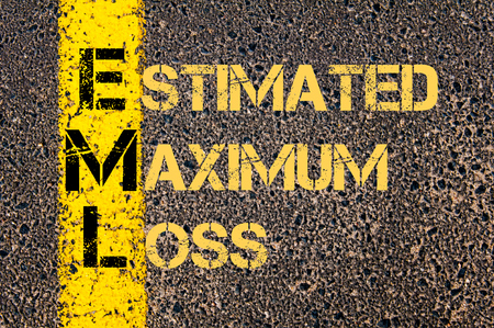 Concept image of Business Acronym EML as ESTIMATED MAXIMUM LOSS written over road marking yellow paint line. Stock Photo
