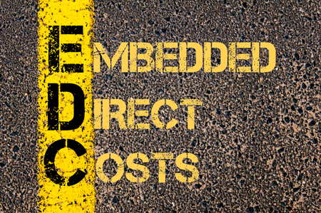 embedded: Concept image of Business Acronym EDC as Embedded Direct Costs written over road marking yellow paint line.
