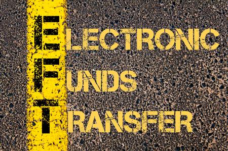 fondos negocios: Imagen del concepto del acr�nimo negocios EFT como TRANSFERENCIA ELECTR�NICA DE FONDOS escrito m�s marcado l�nea de pintura amarilla carretera.