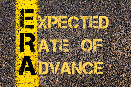 expected: Concept image of Business Acronym ERA as EXPECTED RATE OF ADVANCE written over road marking yellow paint line.