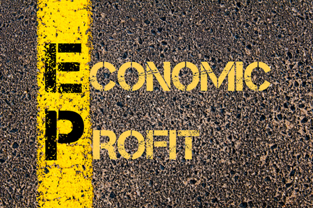 road marking: Concept image of Business Acronym EP as ECONOMIC PROFIT written over road marking yellow paint line.