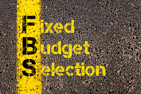 fixed line: Concept image of Business Acronym FBS as Fixed Budget Selection written over road marking yellow paint line.